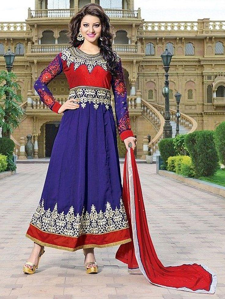 Red & Blue Fancy Embroidered Anarkali Suit