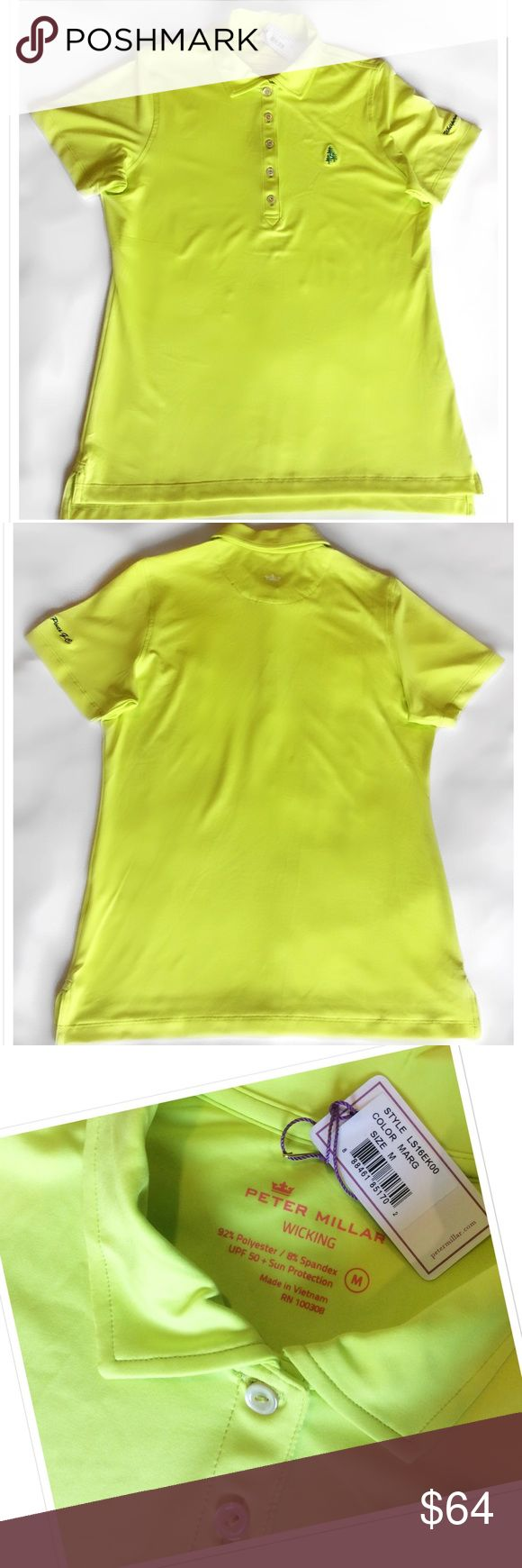 Peter Millar UPF 50 Golf Shirt Brand new with tags. Perfect condition. Peter Millar Wicking. UPF 50 Sun Protection. Safety Green. Short sleeve 5 button w/collar. Polyester Spandex Blend. Whispering Pines Golf Club. Made in Vietnam. Bundle for a fantastic discount. Also open to offers. Peter Millar Tops Tees - Short Sleeve