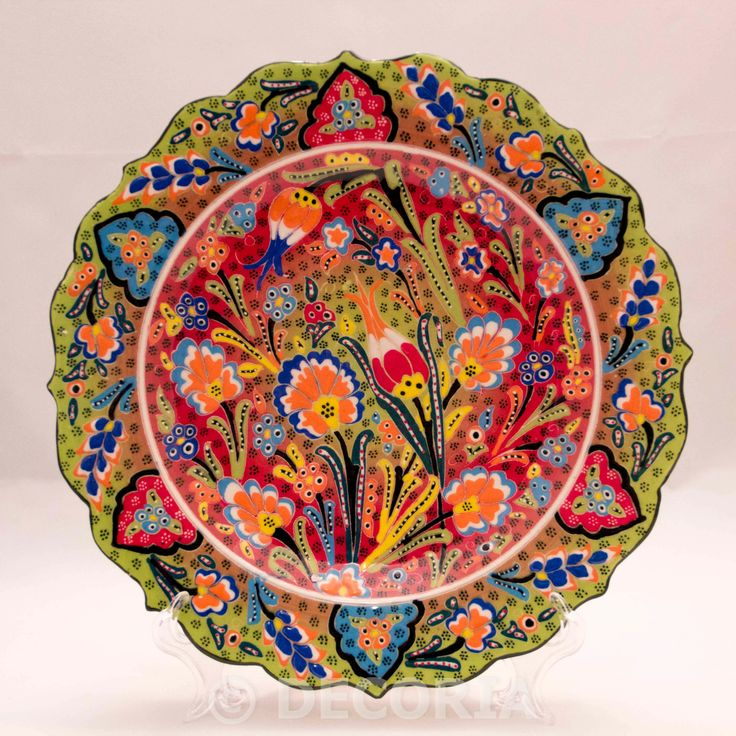 Large Plate - Pistachio Green & Red - DECORIA HOME & GIFT