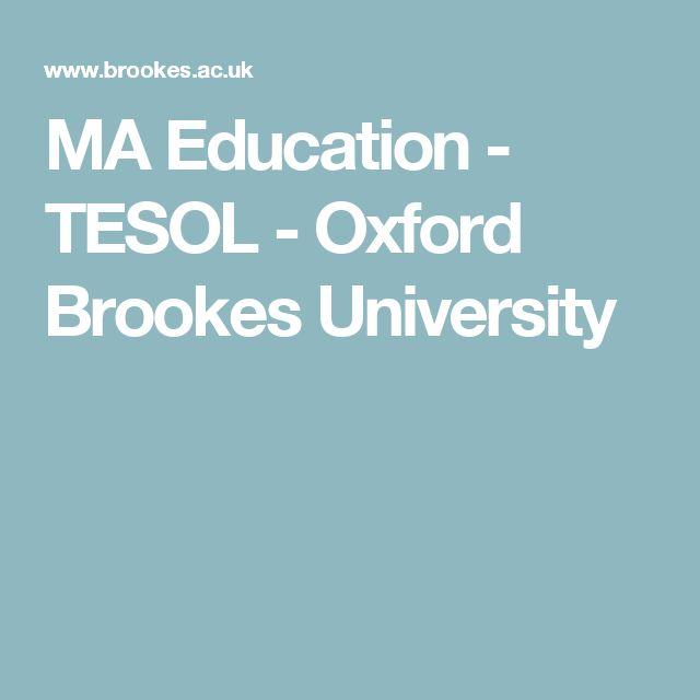 MA Education - TESOL - Oxford Brookes University