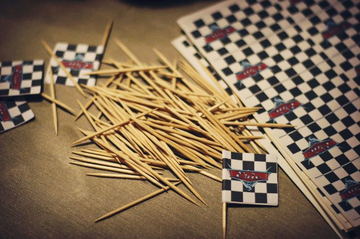 Make toothpick flags from address labels.  Decorations for a Disney-Pixar Cars Party!  Oh, The Things We'll Make!