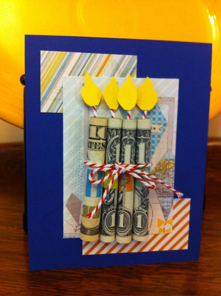 cash gift candle birthday card