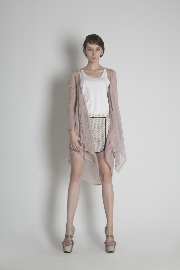 Womenswear. Back Drapped Long Cardigan | White Tank Top | Geometric Print Short Pants