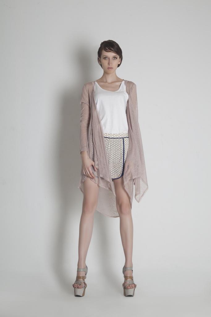 Womenswear. Back Drapped Long Cardigan | White Tank Top | Geometric Print Short Pants