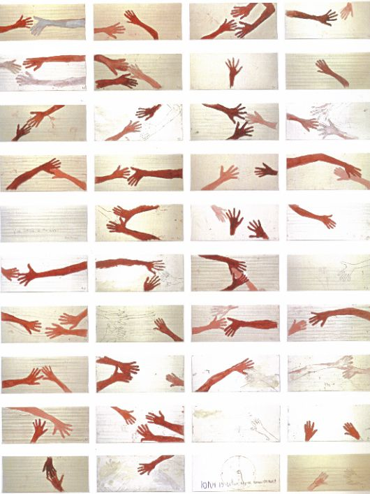 """Louise Bourgeois, """"10 am Is When You Come To Me"""" 2007 — mixed media on 40 music paper sheets. These are the hands of Louise and Jerry Gorovoy."""
