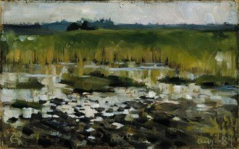 Akseli Gallen-Kallela, The Rushes, 1884, Oil on paper, 21 x 33 cm, Finnish National Gallery, Helsinki