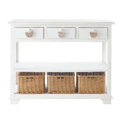 Table console en bois blanche L 108 cm