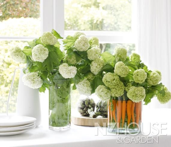 Vege-lined vase makes a fresh-looking centrepiece