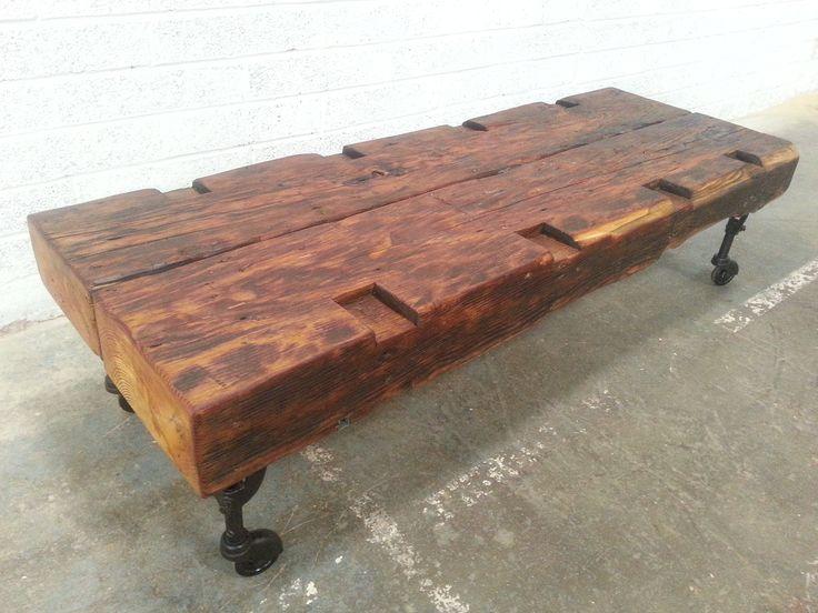 HUGE industrial style reclaimed pine coffee table.