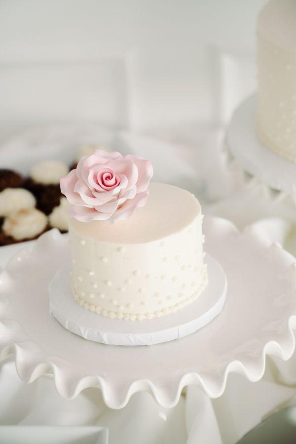 mini white wedding cake by cakes by rumy http://www.weddingchicks.com/2013/10/04/beach-wedding-in-pink-and-white/
