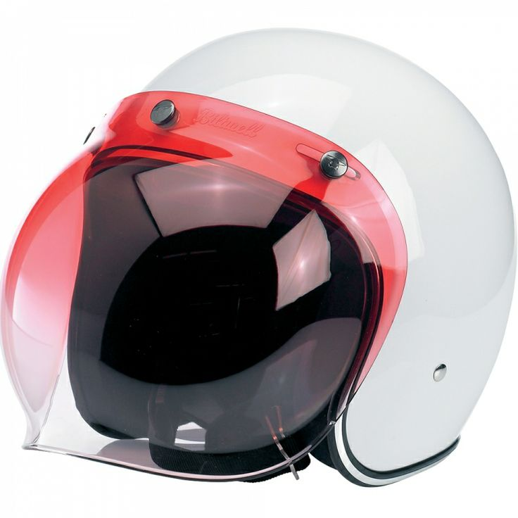 """Biltwell Bubble Shield - Red Gradient  Injection-molded polycarbonate shields in solid, clear and mirror gradient finishes. Fits stock 3-snap visor configuration on most novelty and DOT helmets. Accept no substitutes: make sure the next bubble shield you own features the """"Biltwell"""" script logo. $24.95"""