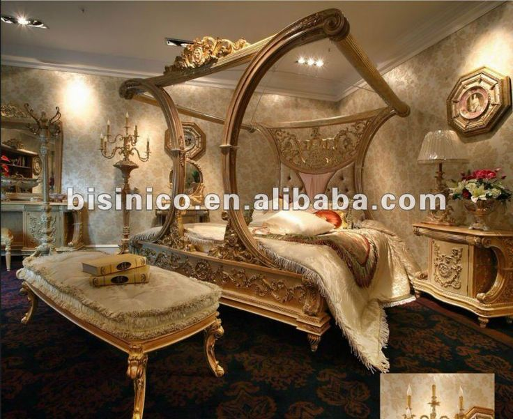 Luxury European French Style Canopy Bedroom Furniture Set