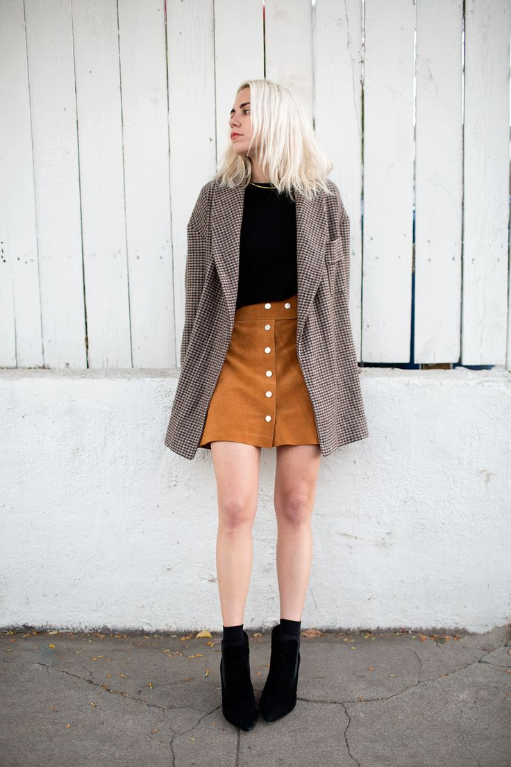 camel suede skirt + brown wool jacket