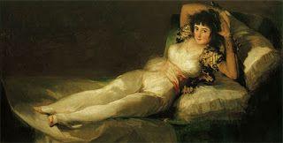 """A Maja vestida"". Francisco Goya.    Veredas da Língua: Fagundes Varela"
