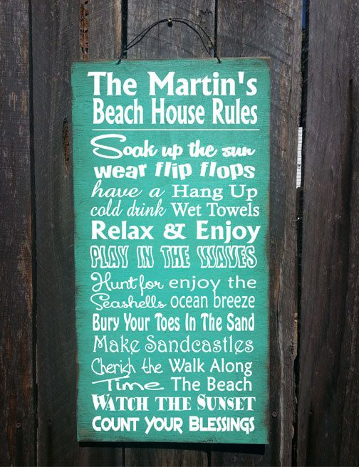 beach sign  beach decor Beach Rules Sign von FarmhouseChicSigns, $37.95