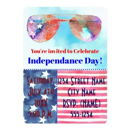 Independence Day Invitation - invitations personalize custom special event invitation idea style party card cards