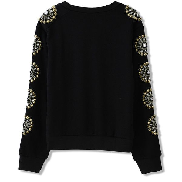 Floral Crystal Embellished Sleeves Sweat Top ❤ liked on Polyvore featuring tops, hoodies, sweatshirts, floral print sweatshirt, dot top, floral sweatshirt, polka dot sweatshirt and sleeve top