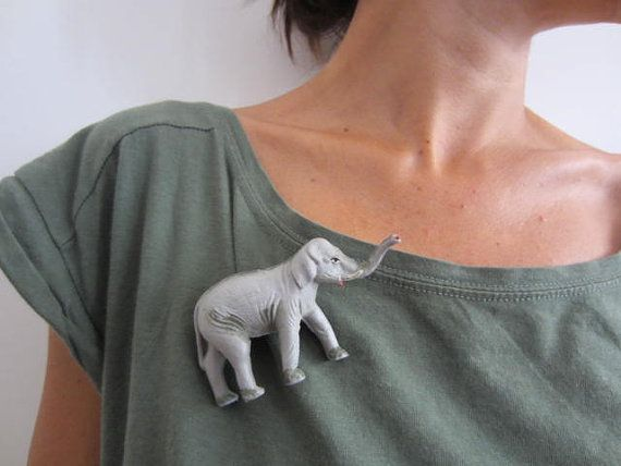 Plastic Animal Statement Brooch shaped as an Elephant by GingerLab, €9.00