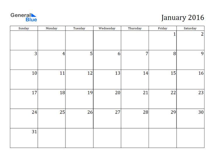 january 2016 calendar blank