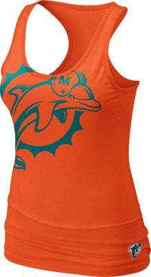 Miami Dolphins Women's Orange Nike Big Logo Tri-Blend Tank Top