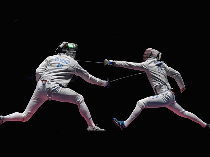 Fencers lunge at the Rio Olympics.