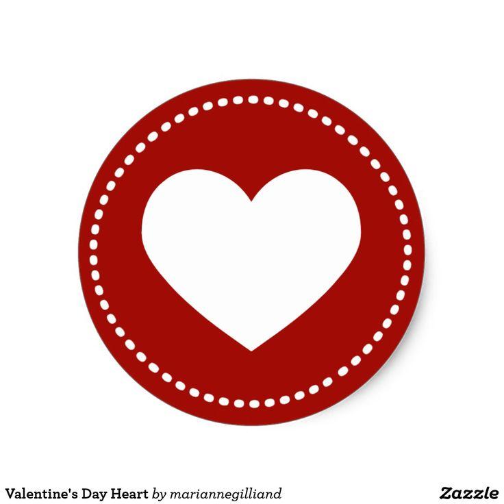 Valentines day heart classic round sticker