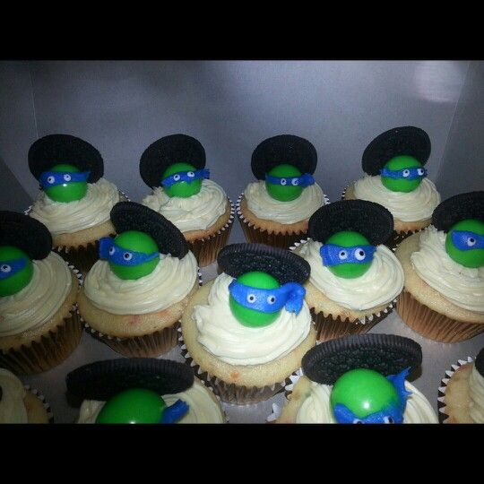 Ninja turtle cupcakes, cheap, quick and easy! Made them for my son's 3rd Birthday.