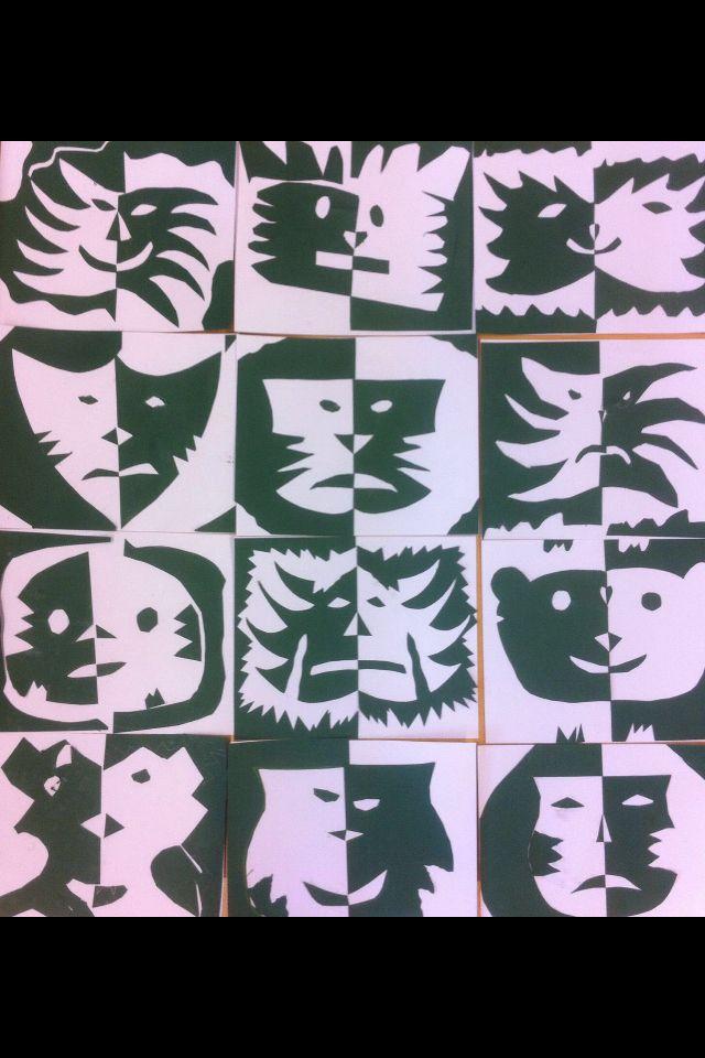 faschingsmasken aus tonpapier aufkleben, 2. klasse