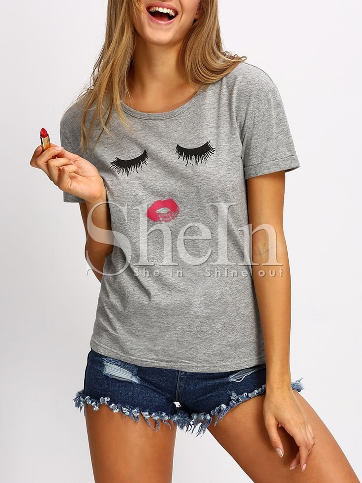 Grey+Short+Sleeve+Cartoon+Pattern+Casual+T-shirt+9.99