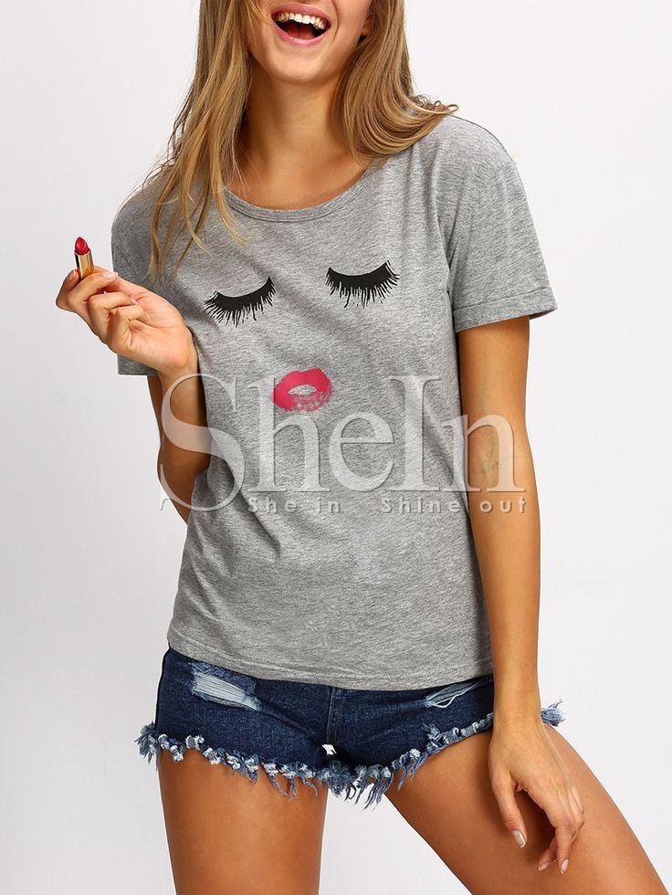 Grey+Short+Sleeve+Cartoon+Pattern+Casual+T-shirt+9.99