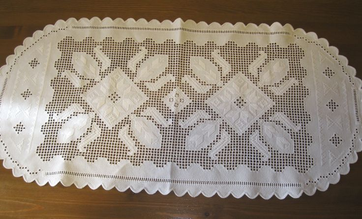 Hand embroidered - open work Hungarian / Romanian runner /tablecloth from Transylvania - at www.greatblouses.com