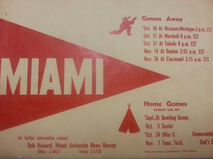 A neatly decorated cover of the 1953 Miami University Football team's schedule and events.  The homecoming game took place here at Miami University playing the Ohio University Bobcats.