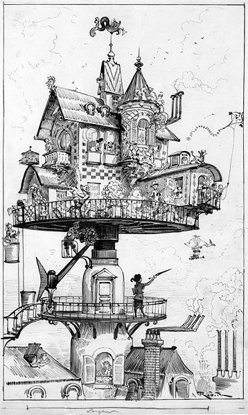"""Maison tournante aérienne"": drawing shows a dwelling structure elevated above rooftops and designed to revolve and adjust in various directions. An occupant points to an airship with a fish-shaped bag in the sky lower right. One of the artist's conceptions for his book on life in the upcoming twentieth century. (Source: A.G. Renstrom, LC staff, 1981-82.) ink over graphite underdrawing."