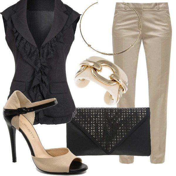Hai un appuntamento di lavoro ma non vuoi vestirti in modo troppo formale? Ecco l' outfit che cercavi! Top taglio giacca, pantalone classico ed accessori poco vistosi per un look professionale e femminile.