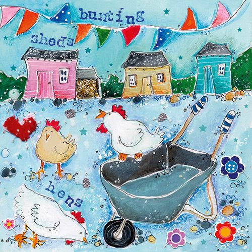 Hens and a wheelbarrow card by Susie Grindey