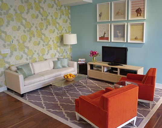 "love this mismatching + colors -- apartment design by Arden Myrin on apartmenttherapy | ""Bright, Happy, Family,"" with vibe of ""the most fun spread Domino Magazine ever did"" + relaxed + comfortable"