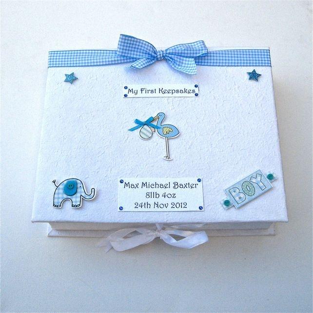 Baby Boy Personalised Keepsake Box - Stork £17.95