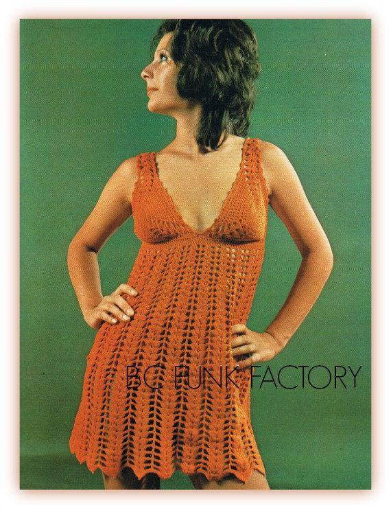 Summer Orange Beach Dress Crochet PATTERN Digital by BCFunkFactory
