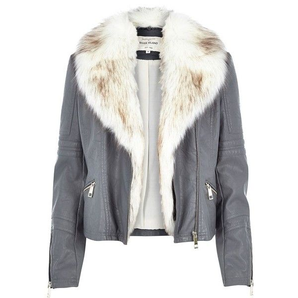 River Island Grey leather-look faux fur biker jacket ($130) ❤ liked on Polyvore featuring outerwear, jackets, river island, coats, biker jackets, coats / jackets, grey, women, vegan moto jacket and faux fur leather jacket