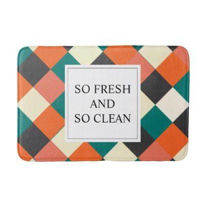 Modern Colorful Geometric Polygon Shapes Mosaic Bathroom Mat - pattern sample design template diy cyo customize