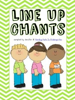 Transition Songs for Lining Up - 14 easy to sing songs for lining up! Great classroom management tool! A fun song naturally cuts down on chatter and negative line behavior. It's hard to talk when you're busy singing! I hope these songs make your transitions go a little smoother!If you like this product, please come visit me at my blog, Herding Kats In Kindergarten, where I share tips, ideas and freebies!http://herdingkats.blogspot.com