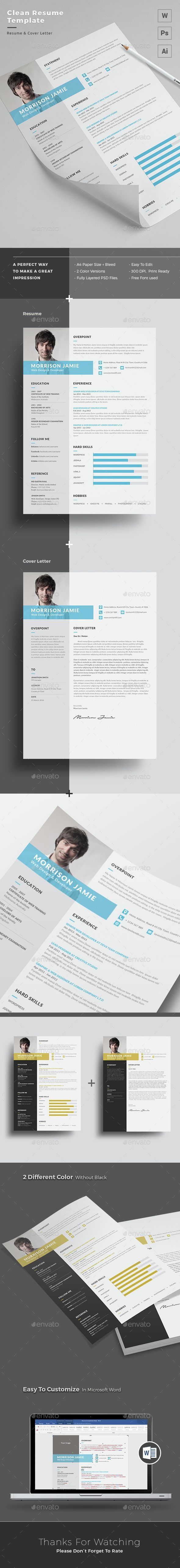 Resume Template PSD, Vector AI. Download here: