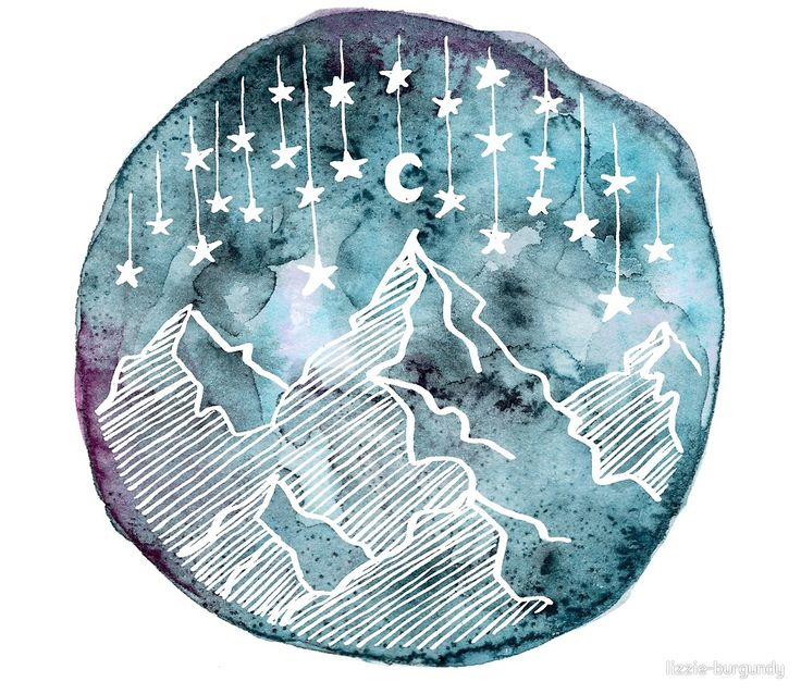 Watercolor Circle Mountain and Stars von lizzie-burgundy