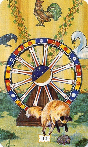 From the Romani Tarot - a stunning Wheel of Fortune card. When you see the Wheel of Fortune: how adaptable are you? Do you enjoy the journeys and adventures of life? Rachel Pollack suggests the Wheel of Fortune is akin to King Arthur's vision of the Grail. I say follow that vision to success, and success will come through the path of least resistance.