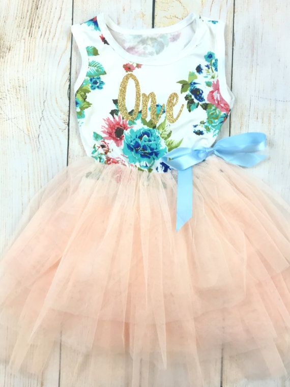 1st Birthday Tutu Dress / Pink Floral birthday by OllieandPenny