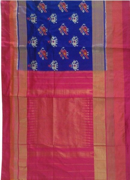 ikat royal blue saree