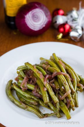 Ejotes salteados con cebolla morada. Receta para Navidad | Cocina Muy Fácil | http://cocinamuyfacil.com