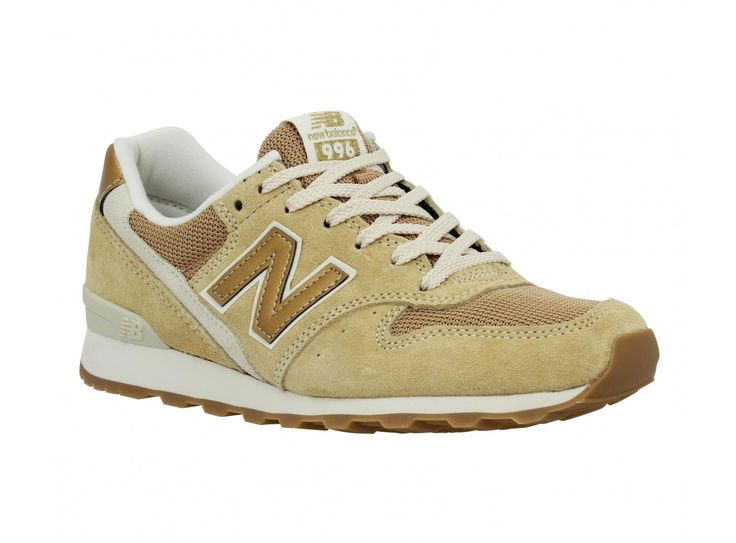 NEW BALANCE 996 velours + toile Femme Beige + Or