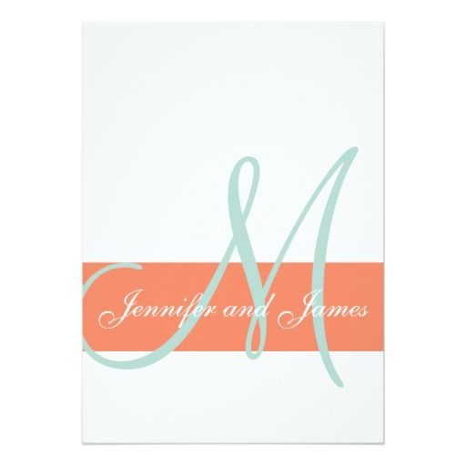 "Coral Mint Green Monogram Names Simple Wedding 5"" X 7"" Invitation Card"