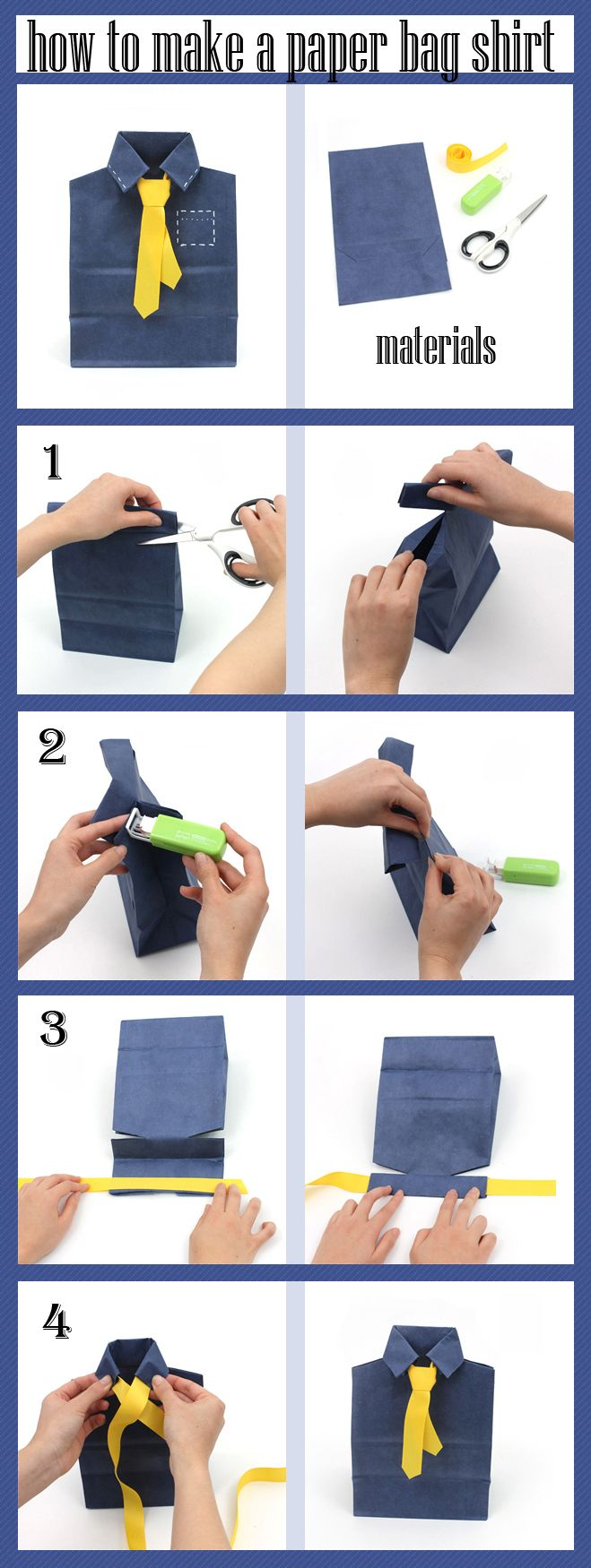 Make A Shirt And Tie With A Paper Bag For Detailed